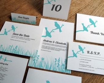 Printable Wedding Invitation Kit - Wedding Printables - Instant Download - Wedding PDF Set - Edit Yourself - DIY Inviation Set - Love Birds