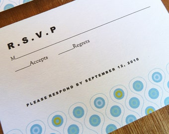 Printable RSVP Card - Response Card Download - Instant Download - RSVP Template - Response Card - Mod Circular Pattern - Blue & Turquoise