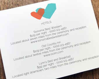 Printable Wedding Enclosure Card - Two Hearts - Wedding Information Card