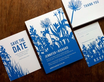 Printable Wedding Invitation Set - Blue Botanical Silhouette - Wedding Printables - Invite, RSVP, Save the Date, Info Card and Thank You