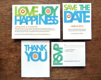 Printable Wedding Invitation Set - Love Joy Happiness - Blue, Green and Teal Invites Save the Dates, RSVPs, Info Cards and Thank You Notes