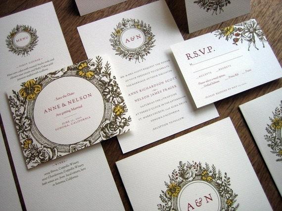 Printable Wedding Invitation Kit - Wedding Invitation Templates - Instant Download PDFs - Wedding Printables - Vintage Wreath Monogram