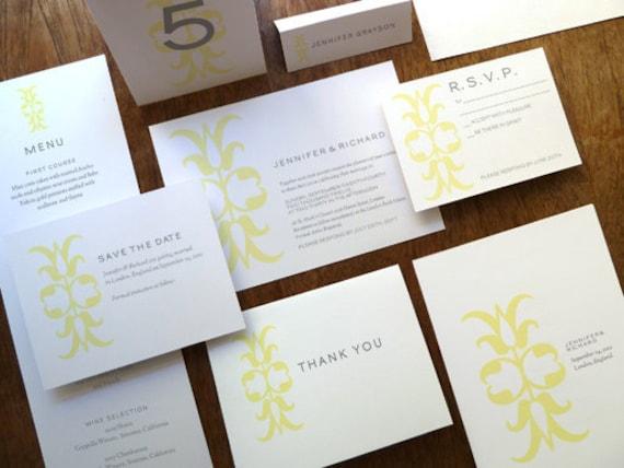 Printable Wedding Invitation Kit - Wedding Printables - Instant Download - Print At Home Wedding PDFs - Yellow and Gray Invitation Set