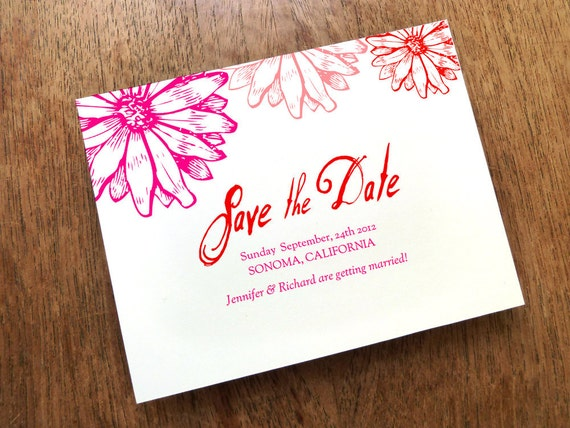 Printable Save the Date Card - Save the Date Template - Instant Download - Save the Date PDF - Pink & Red Daisy Save the Date - Gebera Daisy