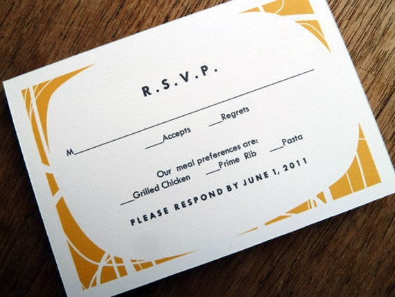 Printable RSVP Card - Response Card Download - Instant Download - RSVP Template - Response Card - Mid Century rsvp - Orange, White and Black