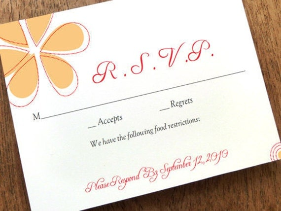Printable RSVP Card Response Download Instant