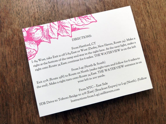 Printable wedding information card enclosure