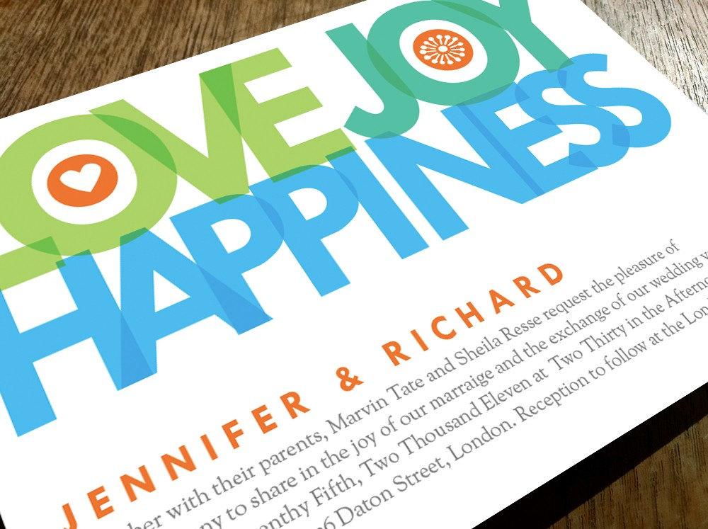 How Big Are Wedding Invitations: Printable Wedding Invitations Love Joy Happiness Big