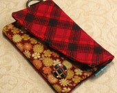 15-30% OFF WITH CODE - Card Wallet - Red Plaid and Floral Print  20065