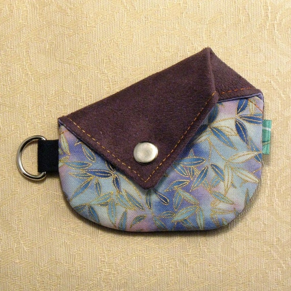 CLEARANCE - Origami Coin Purse - Bamboo Leaves and Purple Faux Suede 10334