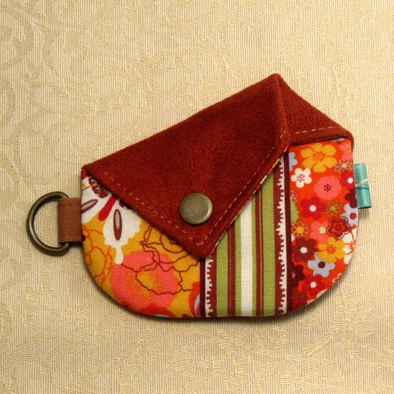 CLEARANCE - Origami Coin Purse - Mariposa collection Orange and Red Suede 10328