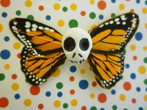 Small Orange Skullerfly Hair Clip