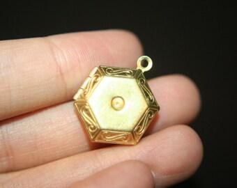 Raw Brass Hexagonal Lockets with Settings - 5 pcs