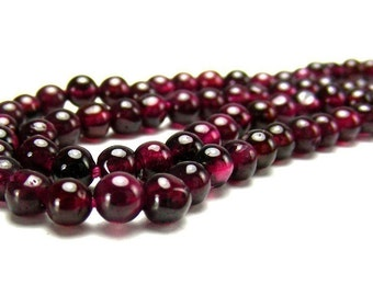 Natural Deep Wine-Colored Garnets 4mm Round from India - 20 Beads
