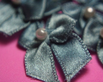 Handmade Craft Supplies - Baby Doll Blue Butterfly Bows with Faux Pearl (10 pcs)