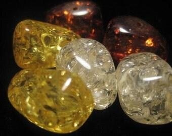 Irregular Shape Resin Amber Beads - 6 pcs