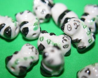 CLOSEOUT SALE - Traditional Chinese Ceramic Panda Beads -16mm x 10mm- 10 pcs
