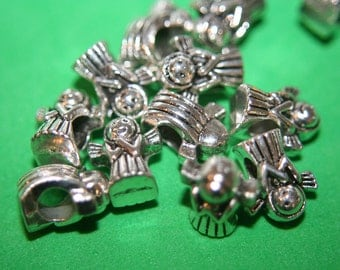 SALE -  Angel with 5mm Hole For Thick Snake Chains Beads- 14mm x 11mm - 10 pcs