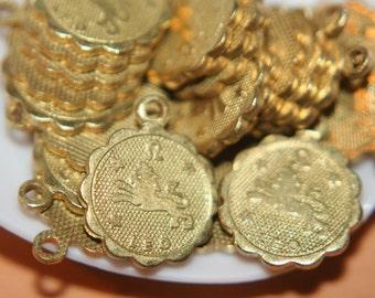 Raw Brass Zodiac Sign with Loop Small Charm Pendants  LEO- 12mm  - 10 pcs