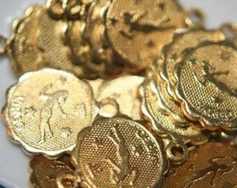 Raw Brass Zodiac Sign with Loop Small Charm Pendants VIRGO - 12mm -10 pcs