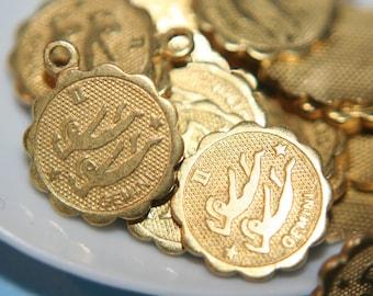 Raw Brass Zodiac Sign with Loop Small Charm Pendants GEMINI - 12mm - 10 pcs