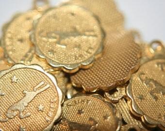 Raw Brass Zodiac Sign with Loop Small Charm Pendants ARIES - 12mm - 10 pcs