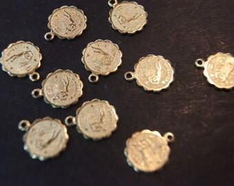 Raw Brass Zodiac Sign with Loop Small Charm Pendants - AQUARIUS - 12mm  - 10 pcs