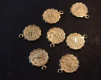 Raw Brass Zodiac Sign with Loop Small Charm Pendants - Scorpio- 12mm  - 10 pcs