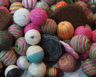 BULK SALE No Coupons - Handmade Fabric Wrapped Assorted Round Beads with Wood Core - 30
