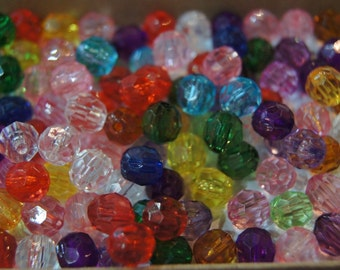 CLOSEOUT SALE - Assorted Faceted Round Acrylic Beads - 6mm - 100 pcs
