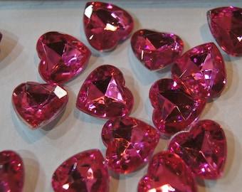 REDUCED - Faceted Rich Pink Rose Quartz Heart Cabochons - 14mm - 10 pcs