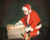 Santa- Christmas- Christ Child- Manger- 11 x 14 Veritical Print- FREE SHIPPING