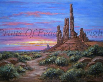 Original Painting - Desert Painting - Red Rock Painting - Sunset - 11 x 14 - 50 % OFF
