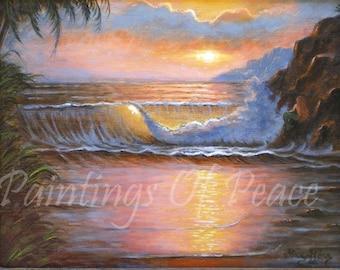 Ocean - Sunset  - Painting - Ocean Waves - Beach - On Sale Now -Half OFF