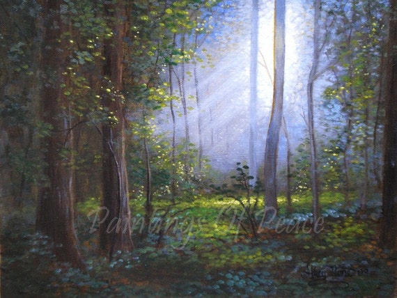 Tree landscape painting forest painting grove by for Painting a forest in acrylics