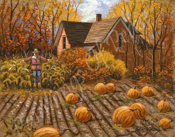 Autumn Painting - Autum Trees - Pumpkin Patch - Scarecrow 11 x 14 - One Sale Now