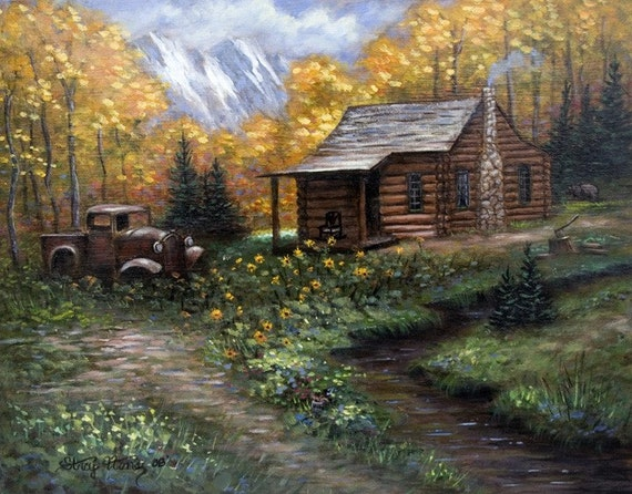Log cabin autumn trees mountain painting