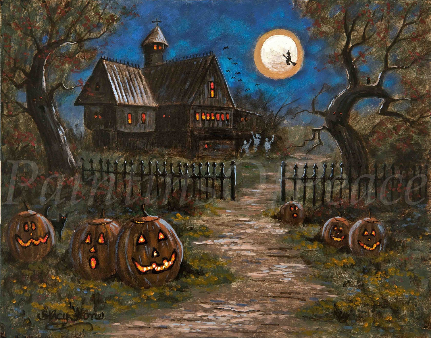 Halloween Painting Pumpkin Witch Halloween Art 11 x