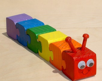 Rainbow Caterpillar Children's  Wooden 3d Puzzle