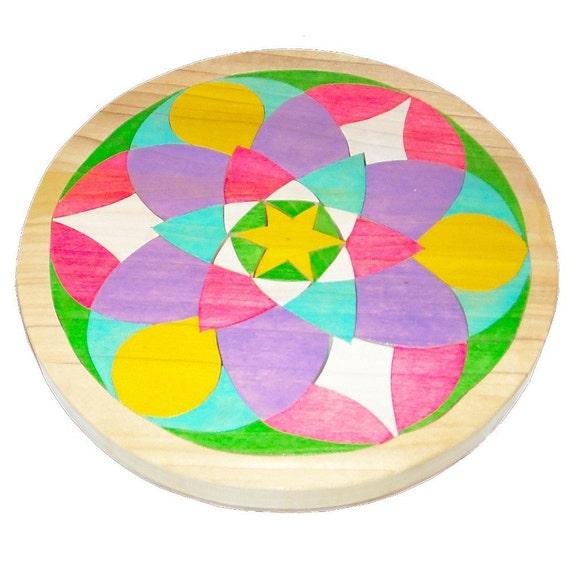 Mosaic Puzzle -  Waldorf Toy -  Wooden Mandala - Orbs In Flight