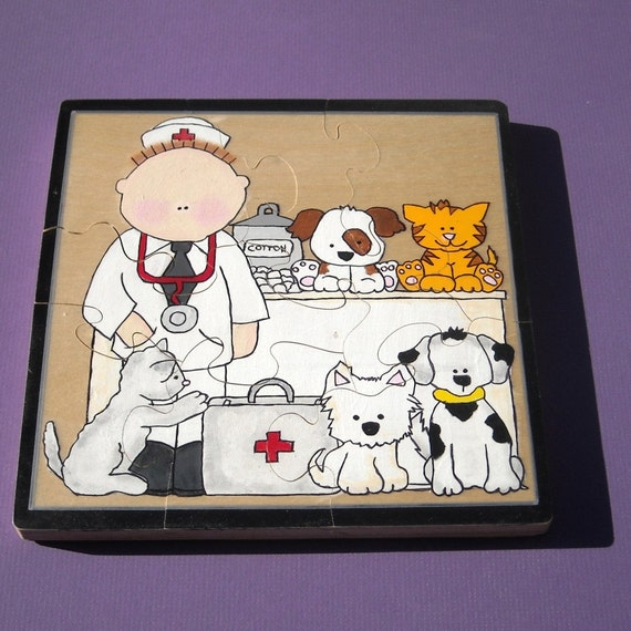Hand Painted Wooden Jigsaw Puzzle - Fun with The Veterinarian