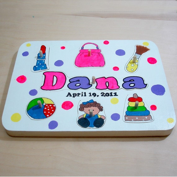 Personalized Toddler Wooden Tray Puzzle For Girls
