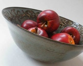 Rustic Handmade Blue Gray Decorative Bowl - 6 cup Serving Bowl