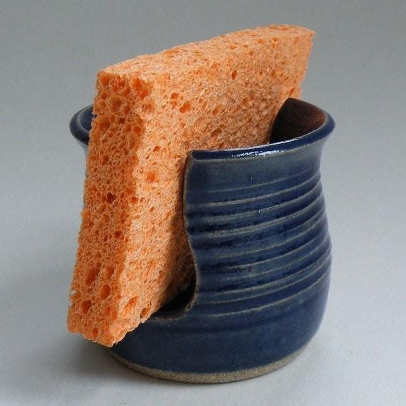Spring Finds - Cobalt Blue Sponge Holder - Wheelthrown Pottery - Deep Nautical Blue - Kitchen Spongie
