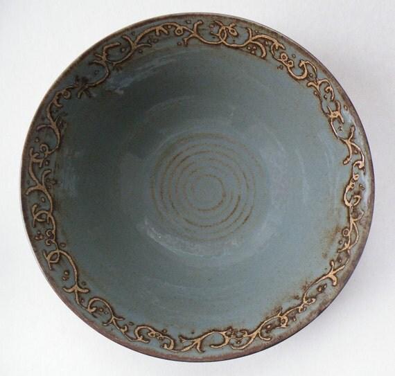 12 cups blue gray Decorative stoneware Pasta Salad Bowl