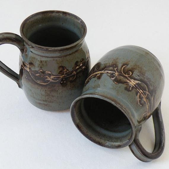 Amazon.com | Mootilda Handmade Stoneware Pottery Cow Mug ...  |Black Stoneware Pottery Mug