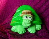 Little cute green turtle with Brown Fedora Pendant or Brooch