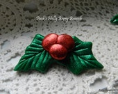Christmas Holly Berry Brooch with Red and Green Glitter