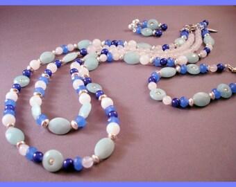 Blue Jewelry Set - Jewelry Set - Blue Bracelet - Blue Earrings - Blue Necklace - Gemstone Jewelry - Ocean Jewelry - Dangle Earrings - Fish