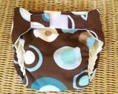 Medium Cloth Diaper Cover:  Brown and Aqua Blue Circle Print